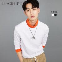 太平鸟男装男士秋季新款长袖T恤纯色纯棉T恤衫修身打底衫黑白衣服