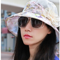 韩版透气雪纺花朵甜美时装帽 时尚显脸小遮阳帽妈妈帽盆帽渔夫帽