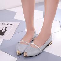 单鞋 女士浅口珍珠尖头鞋2019夏季新款韩版英伦时尚女式百搭休闲鞋女鞋平底鞋