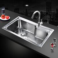【限时直降】九牧(JOMOO)厨房水槽单槽厚不锈钢水槽套餐洗菜盆洗碗池02113/02117