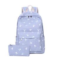2018新款帆布书包女小清新学生双肩包韩版可爱兔子卡通印花背包 浅紫色 兔子 两件套