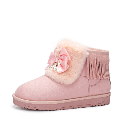 camel骆驼女鞋 秋冬新款甜美蝴蝶结流苏雪地靴韩版学生保暖短靴子