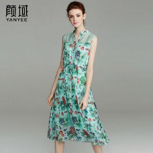 颜域品牌女装2017夏季新款复古无袖中长款印花收腰衬衣式连衣裙女
