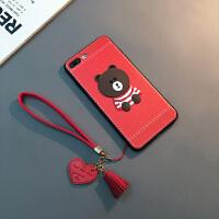 新款苹果8plus手机壳挂绳iPhone7保护套Xs Max软套XR情侣6sp潮女X 6/6s 4.7寸(红色)