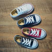 儿童帆布鞋男童低帮系带学生板鞋