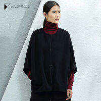 [东方极简]2018冬季新款女装文艺圆领暗扣斗篷大码羊毛呢外套