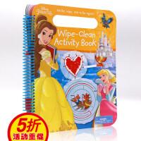 【满300-100】进口英文原版绘本 Disney Princess Wipe clean Activity Book