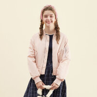【1件2.5折到手价:63.8】美特斯邦威棒球服女士秋季新款显瘦夹克外套潮734612商场同款