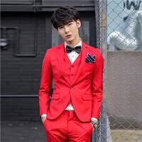 男士休闲西服韩版青年气质大红色西装三件套新郎礼服套装伴郎西装