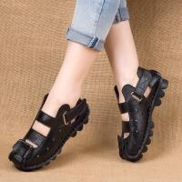 真皮软底罗马鞋防滑舒适洞洞鞋夏季透气厚底平跟平底牛皮女凉鞋GH148