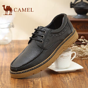 骆驼牌 男鞋 新品系带舒适日常休闲皮鞋厚底低帮男鞋