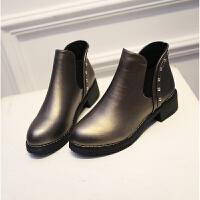 欧美秋冬短靴女粗跟圆头马丁靴复古学生切尔西靴学生短筒单靴裸靴