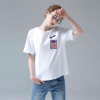 初语 夏季品立体卡通章贴刺绣圆领短袖T恤女宽松衣白色t恤女