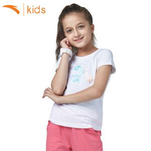 安踏童装儿童女装夏季中大童短t新款宝宝圆领短袖T恤上衣36725149