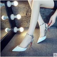 莫蕾蔻蕾高跟鞋女春夏季新款单鞋韩版百搭学生水钻细跟尖头平底婚鞋潮6x232ML