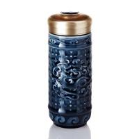 乾唐轩活瓷杯大势在必得随身杯双层创意陶瓷水杯 办公杯子商务定制礼品礼物