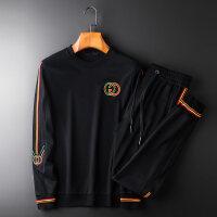 男士套装2018新款韩版潮流秋冬季长袖卫衣T恤青年绣花修身两件套 黑色
