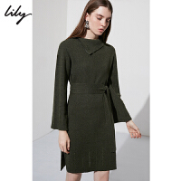 Lily春新款女装不规则翻领绿色毛衫收腰连衣裙118440B7717