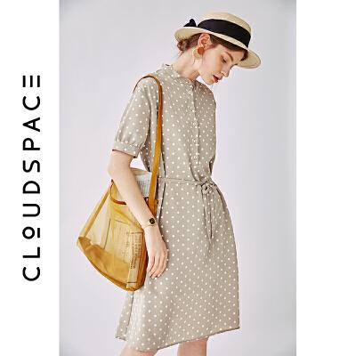 云上生活女装夏新款印花波点连衣裙中长款显瘦裙女L3163