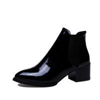 女靴高跟中筒韩版欧美英伦风中跟百搭漆皮短筒马丁靴机车靴大码鞋 黑色 二棉