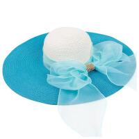 帽子女夏季草帽可折叠沙滩帽防晒太阳帽大沿海边遮阳帽