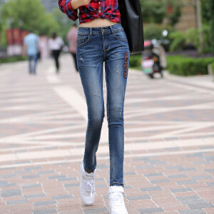 Modern idea2017女装新款牛仔裤女士显瘦小脚裤弹力韩版铅笔长裤子潮