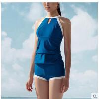 游泳衣女士分体生大码泳装温泉保守遮肚显瘦平角运动款学 可礼品卡支付