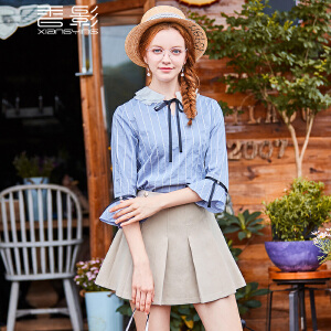 条纹娃娃衫女 香影2017秋装新款撞色蝴蝶结系带喇叭袖上衣七分袖