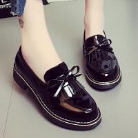 黑色英伦小皮鞋日系女jk2019夏季新款学生平底百搭夏天配裙子单鞋 黑 色