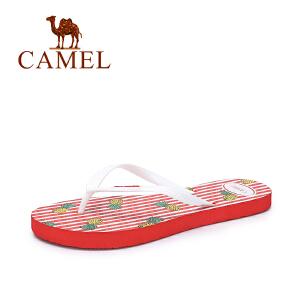 camel骆驼女鞋 夏季新品休闲舒适人字拖女 可爱印花沙滩防滑拖鞋