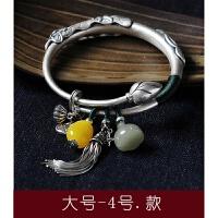 S990足银民族风手镯女莲花鲤鱼复古个性推拉手工老银镯子礼物 大号-4号-款 手腕大