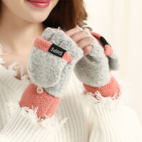 手套女冬季可爱露指卡通翻盖保暖学生骑车开车触屏毛线手套男加厚