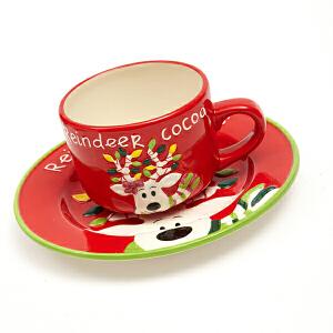 爱屋格林Evergreen手绘立体杯盘套装陶瓷咖啡杯马克杯麋鹿圣诞杯