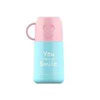 【当当自营】艾可思潮牌不锈钢保温杯萌宝宝学生水壶便携户外运动学生笑脸水杯-杯身蓝色