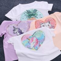 女童可变图案短袖t恤儿童变脸上衣夏季小女孩亮片可翻转衣服