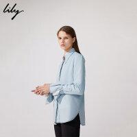 Lily春新款女装OL舒适莱赛尔天丝牛仔直筒衬衫118410G4802