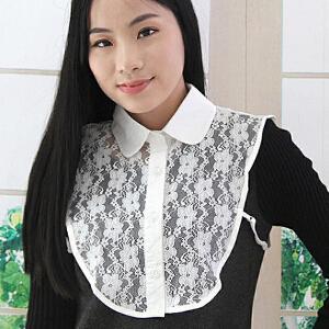 货到付款 Yinbeler 韩版百搭时尚方领蕾丝假领子衬衫领女假领装饰领立领甜美百搭假衣领