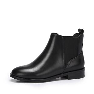 camel/骆驼女鞋秋冬新款时尚方跟切尔西靴女套脚短筒靴