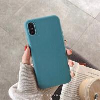 简约纯色xs max苹果x手机壳xr软硅胶套iphone6s/7/8plus防摔女 I6/6S tpu 纯色湖蓝