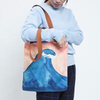 2018新款品牌水彩系列涤纶印花单肩包女休闲购物袋手提包