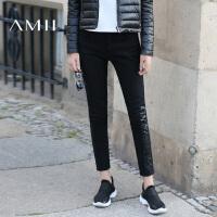 AMII[极简主义]秋冬季加厚修身铅笔裤弹力小脚牛仔棉长裤女式