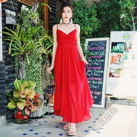 夏季女装长裙大码连衣裙雪纺吊带裙红色沙滩裙海边度假裙 红色