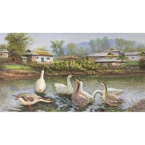 朝鲜油画 一级画家 韩光哲《鸭趣》【大千艺术品】