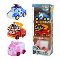 韩国变形警车POLI网红 救援小车系列惯性车套装 3只/4只礼盒装玩具