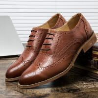 皮鞋男夏季新品鳄鱼纹休闲皮鞋男发型师潮鞋正装鞋时尚百搭中青年男士帅气鞋子