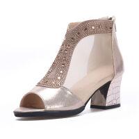凉鞋女学生韩版中跟凉靴新款鱼嘴凉鞋女粗跟镂空凉鞋网纱单鞋女夏