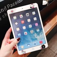 新款2018iPad卡通贴膜air2苹果4迷你1前膜mini2钢化pro9.7彩膜