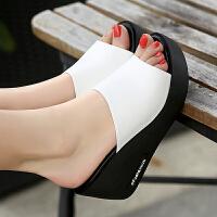 坡跟凉拖鞋女夏2019新款高跟厚底一字拖外穿女凉鞋 36 标准码