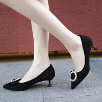 红色高跟鞋女婚鞋尖头浅口单鞋性感猫跟五厘米学生工作公主小清新 黑色 标准码