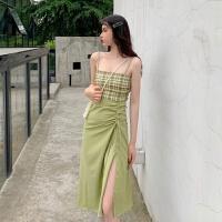 吊带连衣裙女夏季韩版学生复古绿色格子裙子性感开叉露背收腰长裙 绿色 S 80-90左右